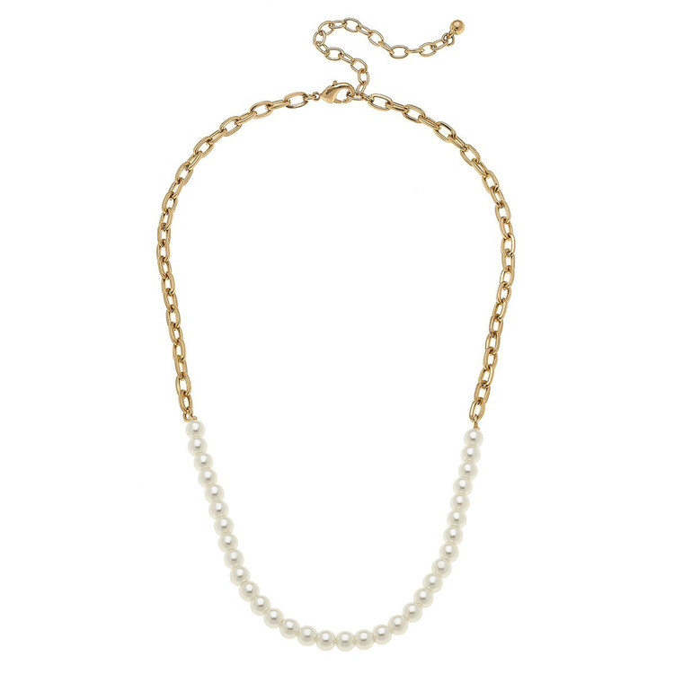 PEARLS WITH GOLD CHAIN NECKLACE