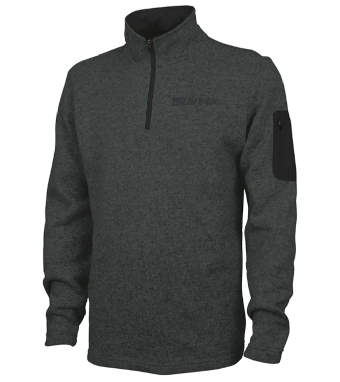 1/4 ZIP GRAY W/BLACK ARM POCKETS SWEATSHIRT