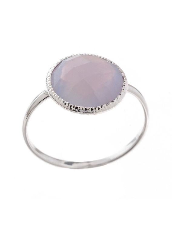 CIRCLE BLUE STONE RING - SIZE 7