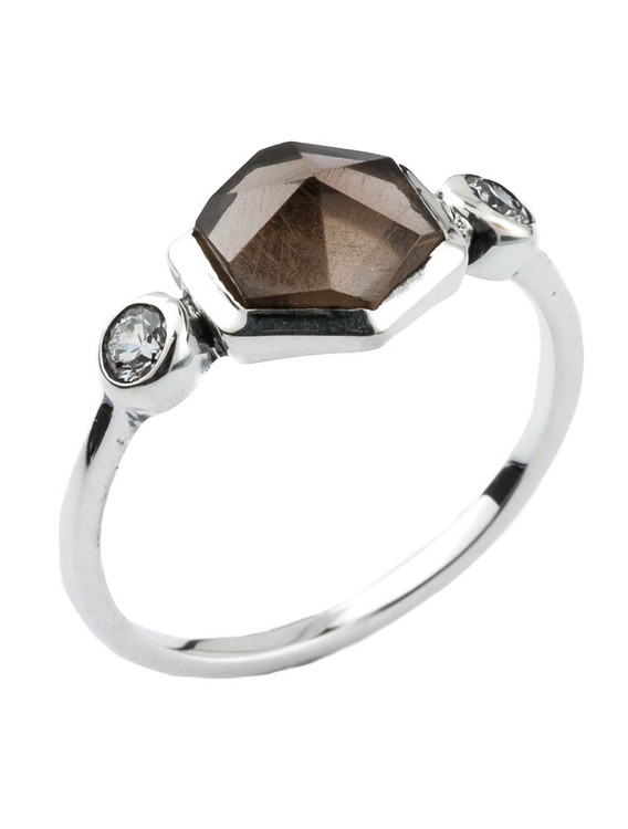 BROWN STONE SIX SIDED RING - SIZE 7