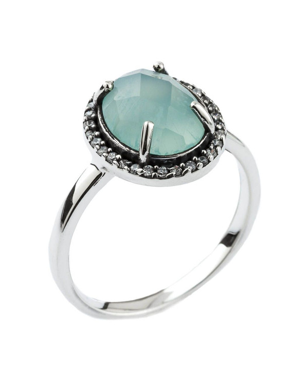 SILVER CIRCLE BLUE STONE RING - SIZE 7