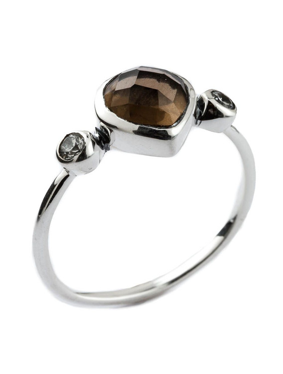 HEART SHAPED BROWN STONE RING - SIZE 7