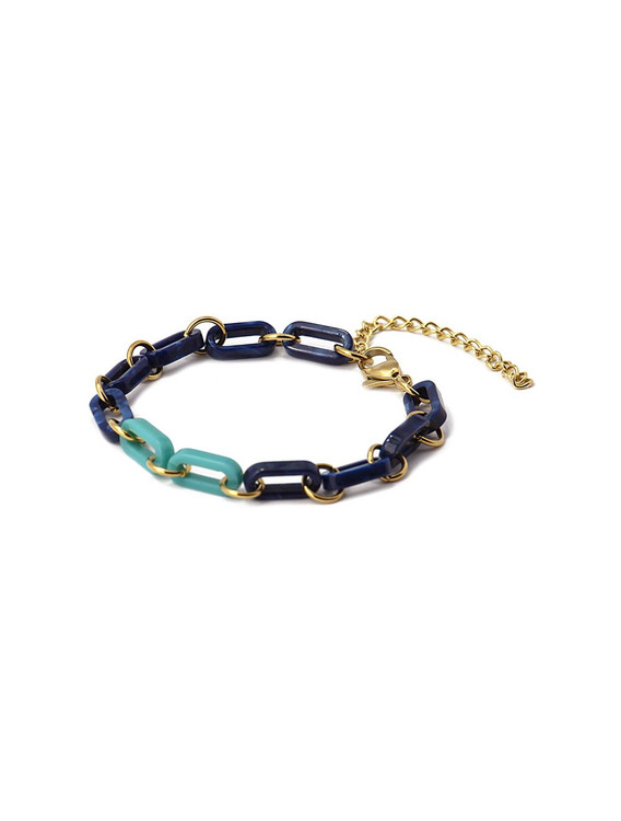 GOLD AND BLUE TORTOISE LINK BRACELET