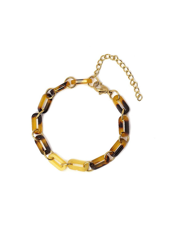 GOLD AND TORTOISE SHELL LINK BRACELET
