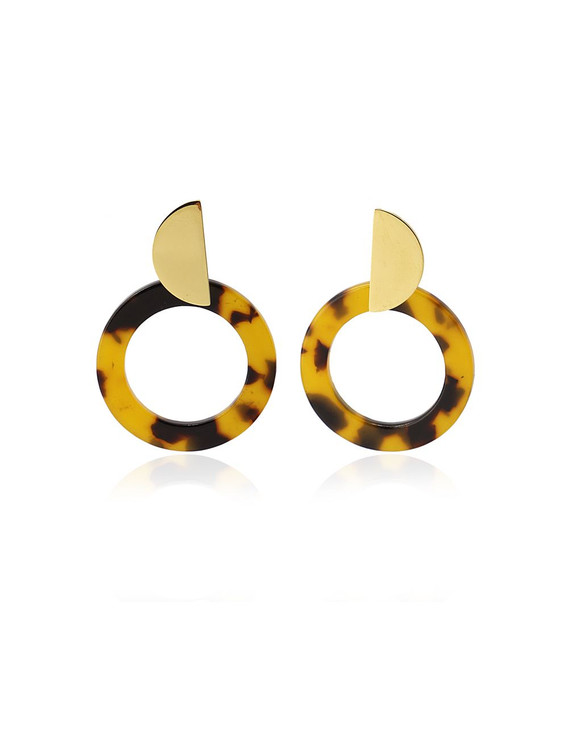 GOLD HALF CIRCLE TORTOISE EARRINGS