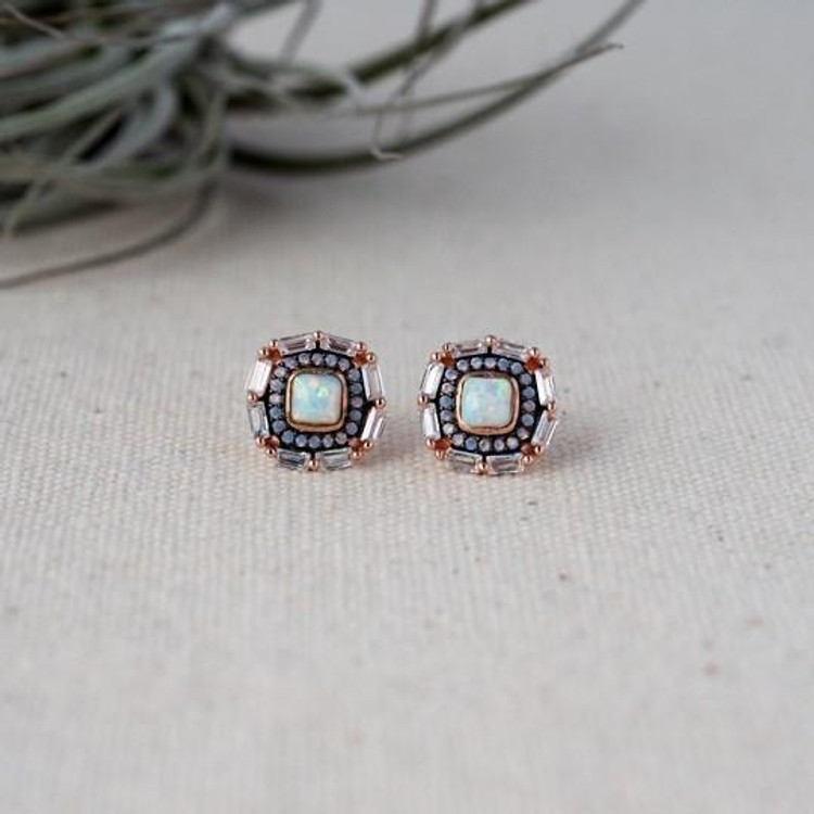 ROSE GOLD/OPAL SQUARE STUD EARRINGS