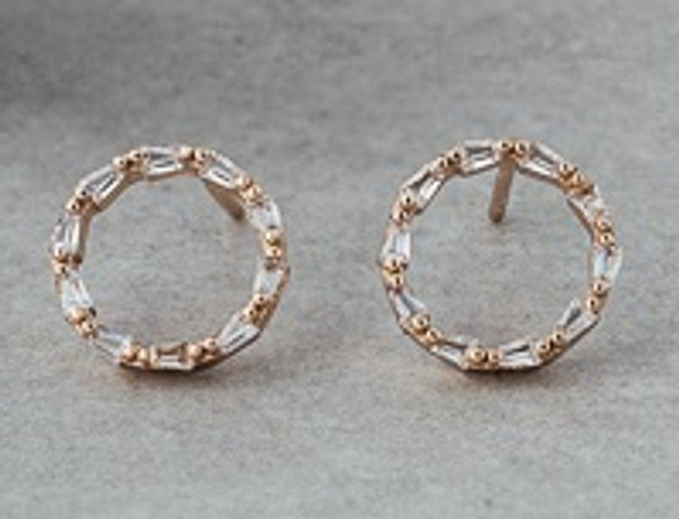ROSE GOLD & CLEAR KINSHIP STUD EARRINGS