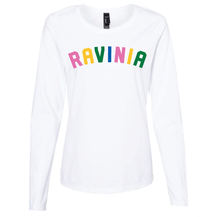 LADIES WHITE LONG SLEEVED TEE WITH COLORFUL RAVINIA