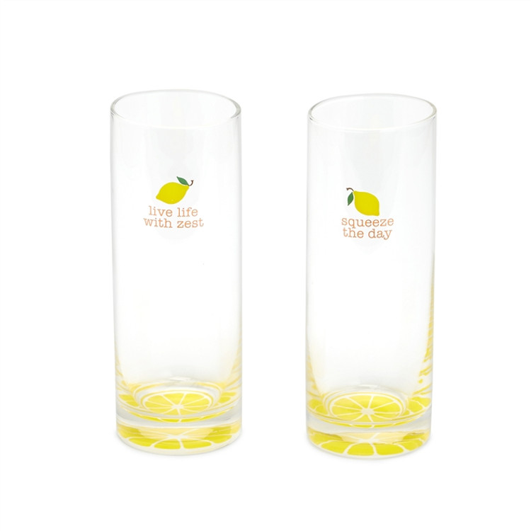 SET OF TWO HIGHBALL LEMON GLASSES