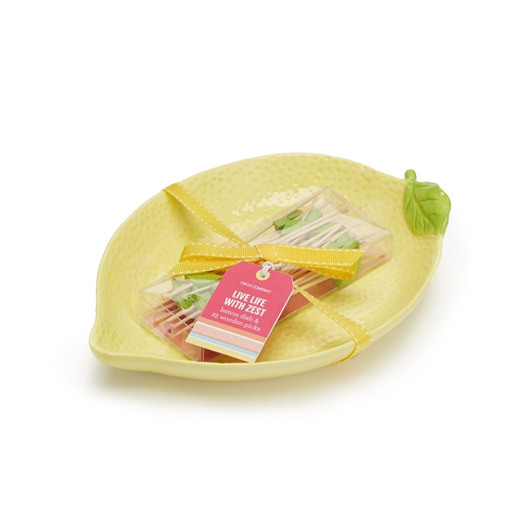 LEMON PLATE AND WOODEN PICK SET