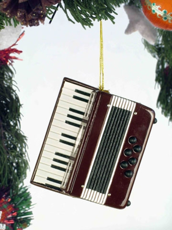 BURGUNDY ACCORDION ORNAMENT