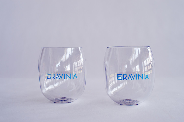WINE GLASS STEMLESS BLUE INDENTS