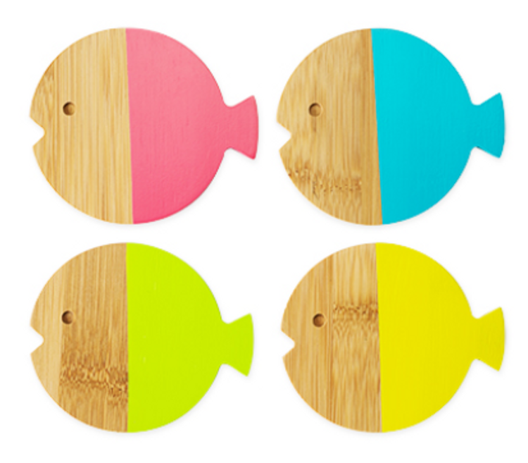Cute Set of 4 Fish Bamboo Coasters, dipped with bright food-safe paint