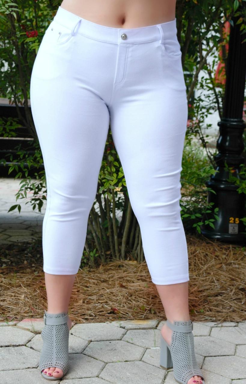 4e2ef169073f13 More To Say Capri Jeggings - White - Perfectly Priscilla Boutique