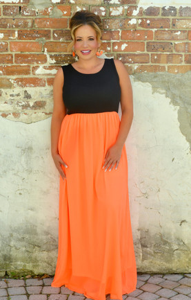 2966694cbfb On Target Maxi Dress - Black Neon Coral