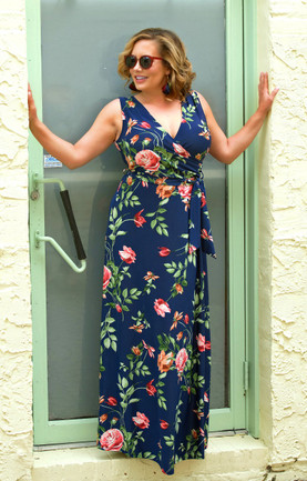f014db5d027 True Icon Floral Maxi Dress - Navy