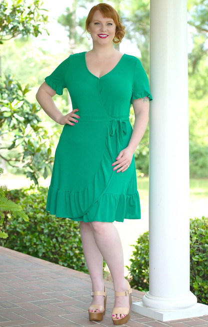 Step By Step Wrap Dress - Kelly Green - Perfectly Priscilla Boutique