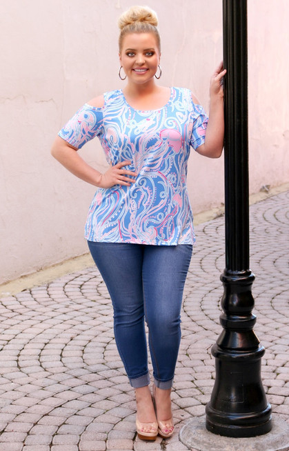 be030d42ff5696 Already Here Cold Shoulder Print Top - Multi - Perfectly Priscilla Boutique