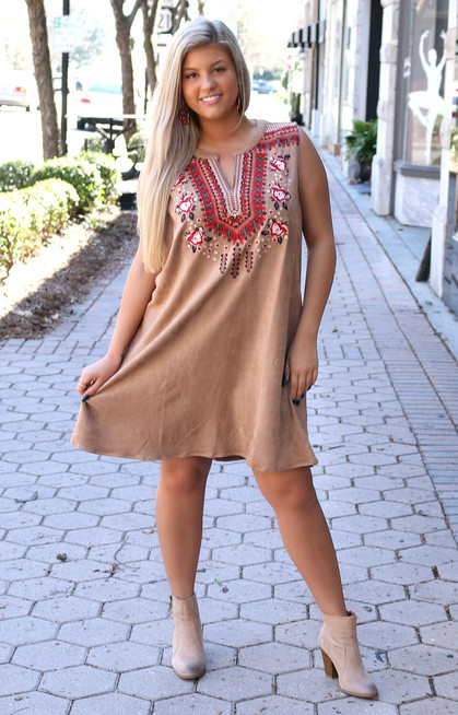 e2b0d86fdd4 Because Of You Embroidered Dress - Camel - Perfectly Priscilla Boutique