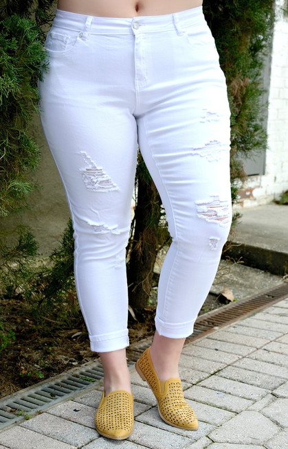 59a93d227f5 Told You So Distressed Skinny Jeans - White - Perfectly Priscilla Boutique