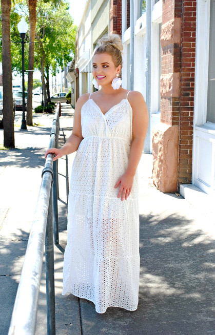 When Hearts Collide Eyelet Dress - White