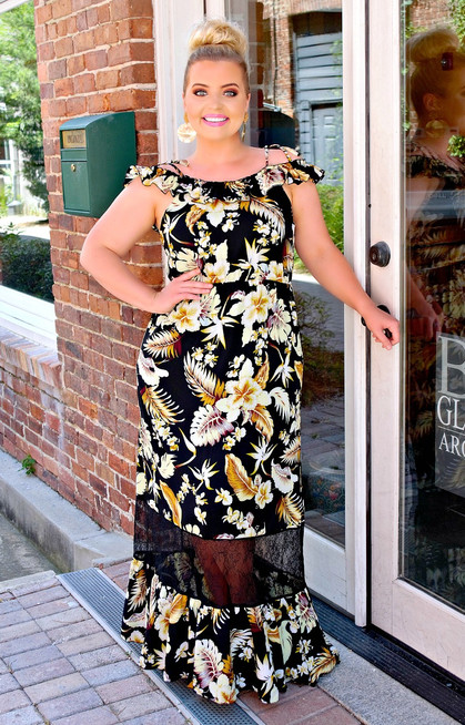 ec3f1451a652 Summer Spark Floral Maxi Dress - Black - Perfectly Priscilla Boutique