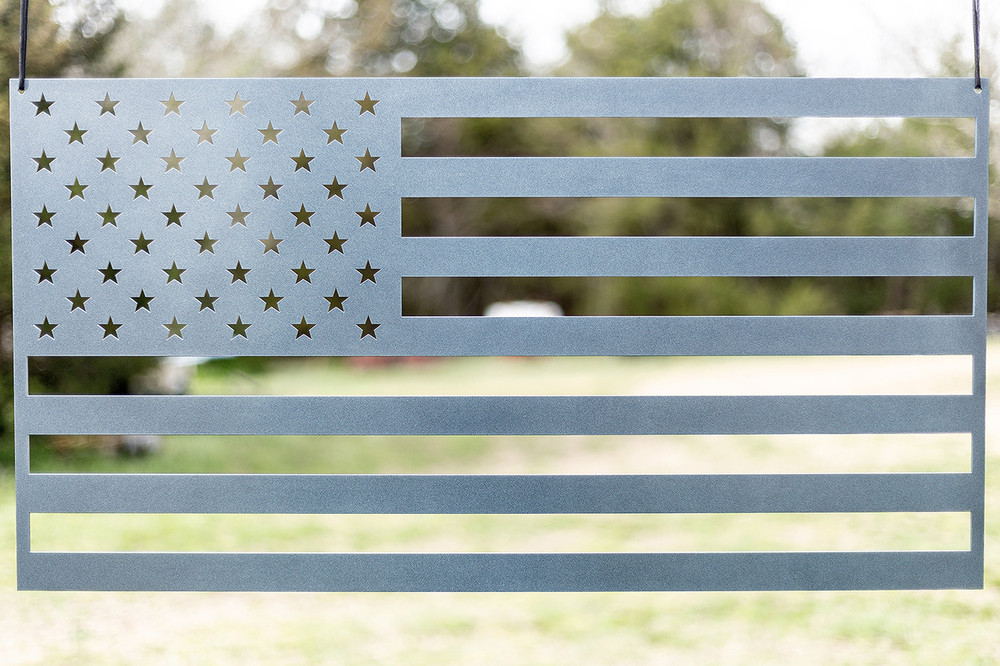 "American Flag (laser cut 12 gauge steel) 36"" x 19"" in Bombastic Silver"