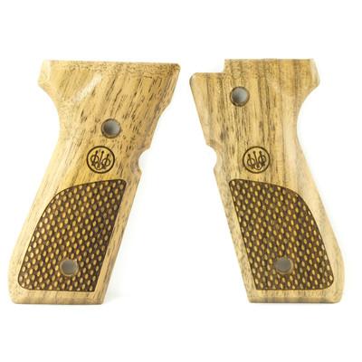 Beretta Grips 92 96 Wood Oval Chkrng