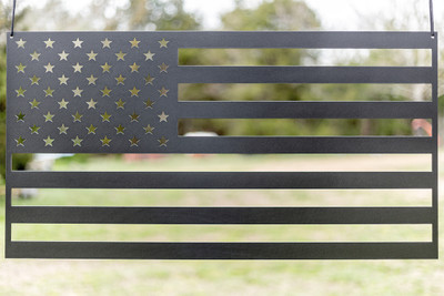 "American Flag (laser cut 12 gauge steel) 36"" x 19"" in Evo Grey"