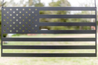 "American Flag (laser cut 12 gauge steel) 36"" x 19"" in Evo Grey"