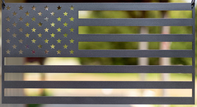 "American Flag (laser cut 12 gauge steel) 18"" x 9.5"" in Evo Grey"