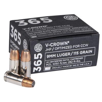 Sig Ammo 9mm 115gr Jhp Ccw 20/200