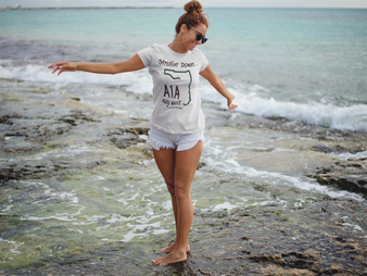 Women Strollin Down A1A T-shirt in white.