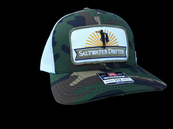 Camo green patch trucker cap.