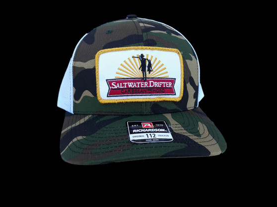 Camo Saltwater Drifter patch trucker hat.