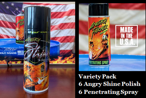 Variety Pack 6 Angry Shine Polish/6 Penetrating Spray