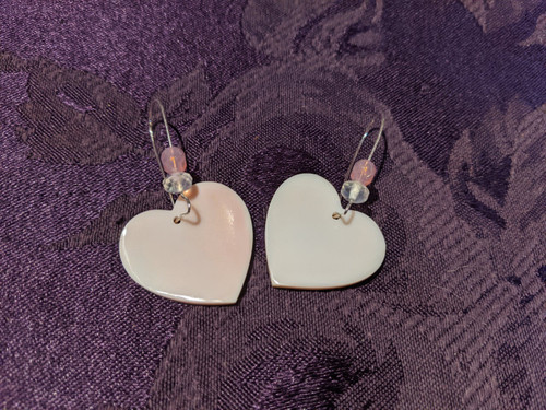 Pink Concho Shell Heart Earrings