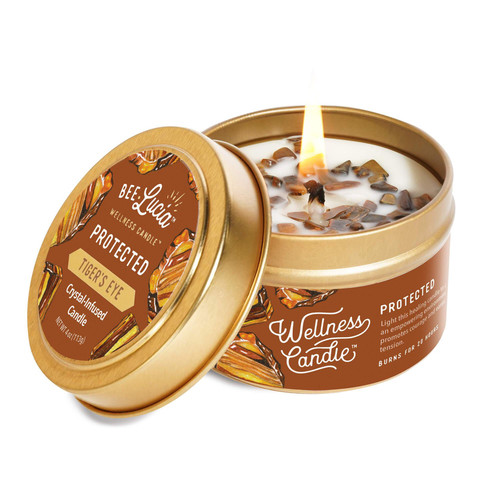 Protected Tiger Eye Candle- 4oz Tin