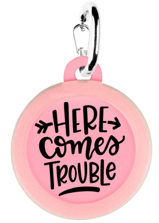 Here Comes Trouble Pet ID Tag