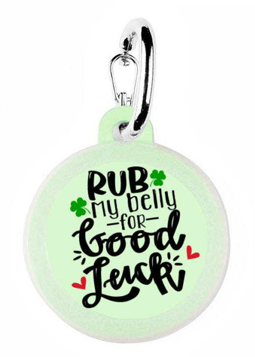 Rub my Belly Good Luck Dog  Tag