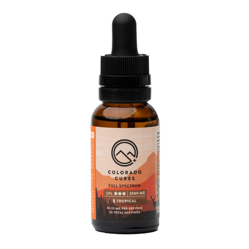 Colorado Cures -CBD Tincture - Full Spectrum - Tropical -2500mg - 30mL