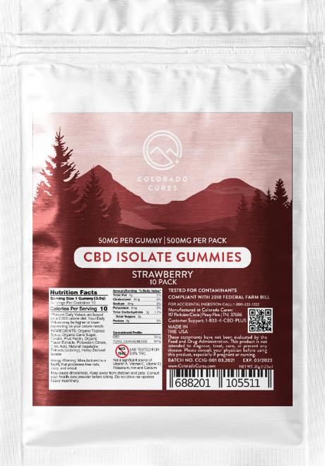 COLORADO CURES - STRAWBERRY CBD ISOLATE GUMMIES - 500MG 10PK