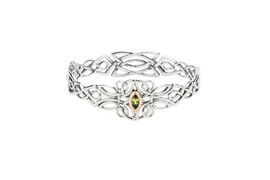 Sterling Silver + 10k Gold Peridot Guardian Angel Bangle