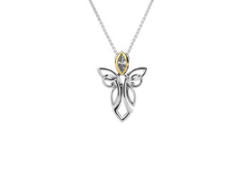 Sterling Silver + 10K Gold CZ Guardian Angel Pendant