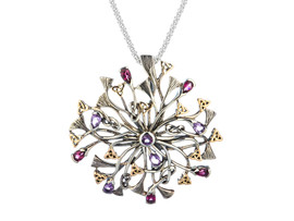Sterling Silver + 10K Gold Rhapsody with 3.5mm Pear Shaped Amethyst and Rhodolite Pendant