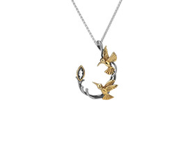 Sterling Silver + 10K Gold Marquis White Topaz Double Hummingbird Pendant
