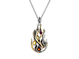 "Sterling Silver + 10K Gold Garnet, Citrine & Rhodolite ""Fire"" Element Pendant"