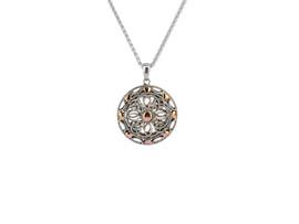 Sterling Silver + 10K Gold Rose Ashen Rose Heart Small Pendant