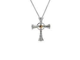 Sterling Silver + 10K Gold Celtic Cross Small Pendant
