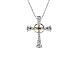 Sterling Silver + 10K Gold Celtic Cross Large Pendant